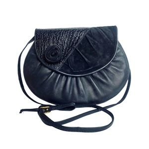 Vntg 80s Crossbody Black Embossed Leather Velvet